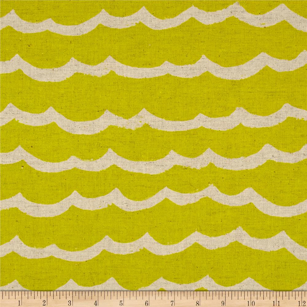Cotton + Steel Kujira & Star Canvas Waves Citron Fabric
