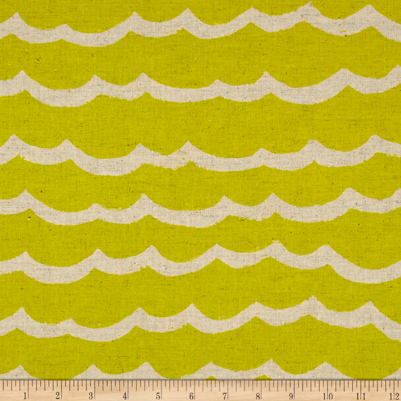 Image of Cotton + Steel Kujira & Star Canvas Waves Citron Fabric