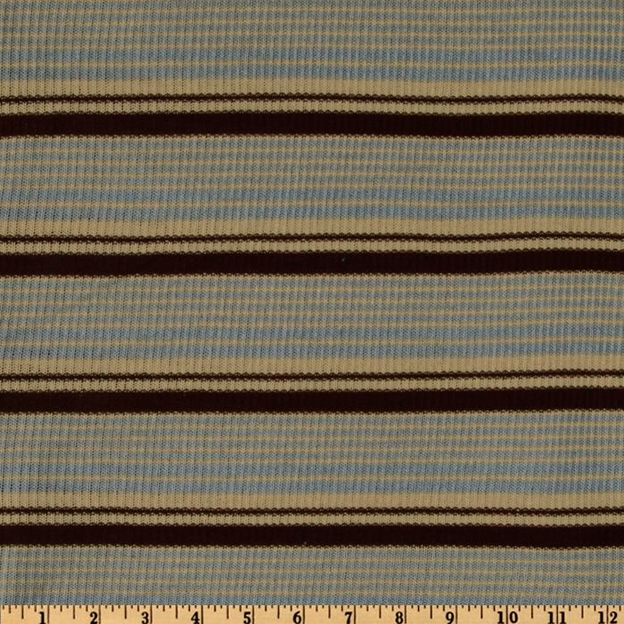 Rib Sweater Knit Stripes Blue/Brown/Cream