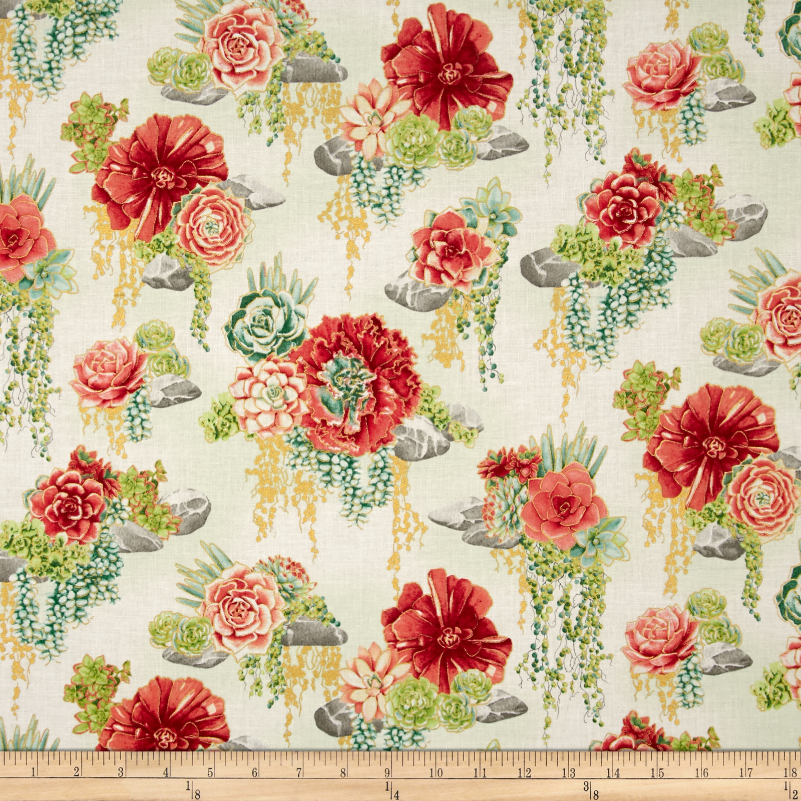 Oasis Metallic Tranquil Trail Coral Fabric by RJR in USA