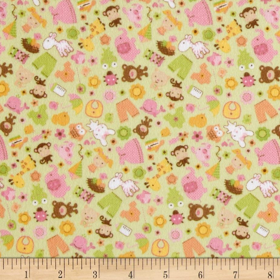 Riley Blake Sweet Baby Girl Flannel Sweet Friends Green