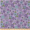 Comfy Flannel Tossed Flowers Purple
