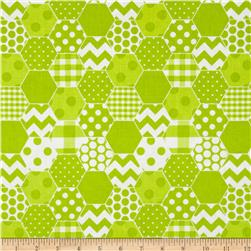 Riley Blake Hexi Print Lime Fabric