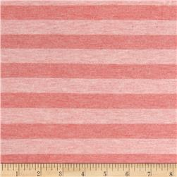 Designer Cotton Lycra Jersey Knit Yarn Dyed Stripes Heather Pink