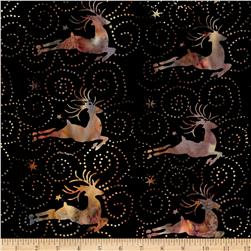 Island Batik Holiday Happenings Deer Black/Multi