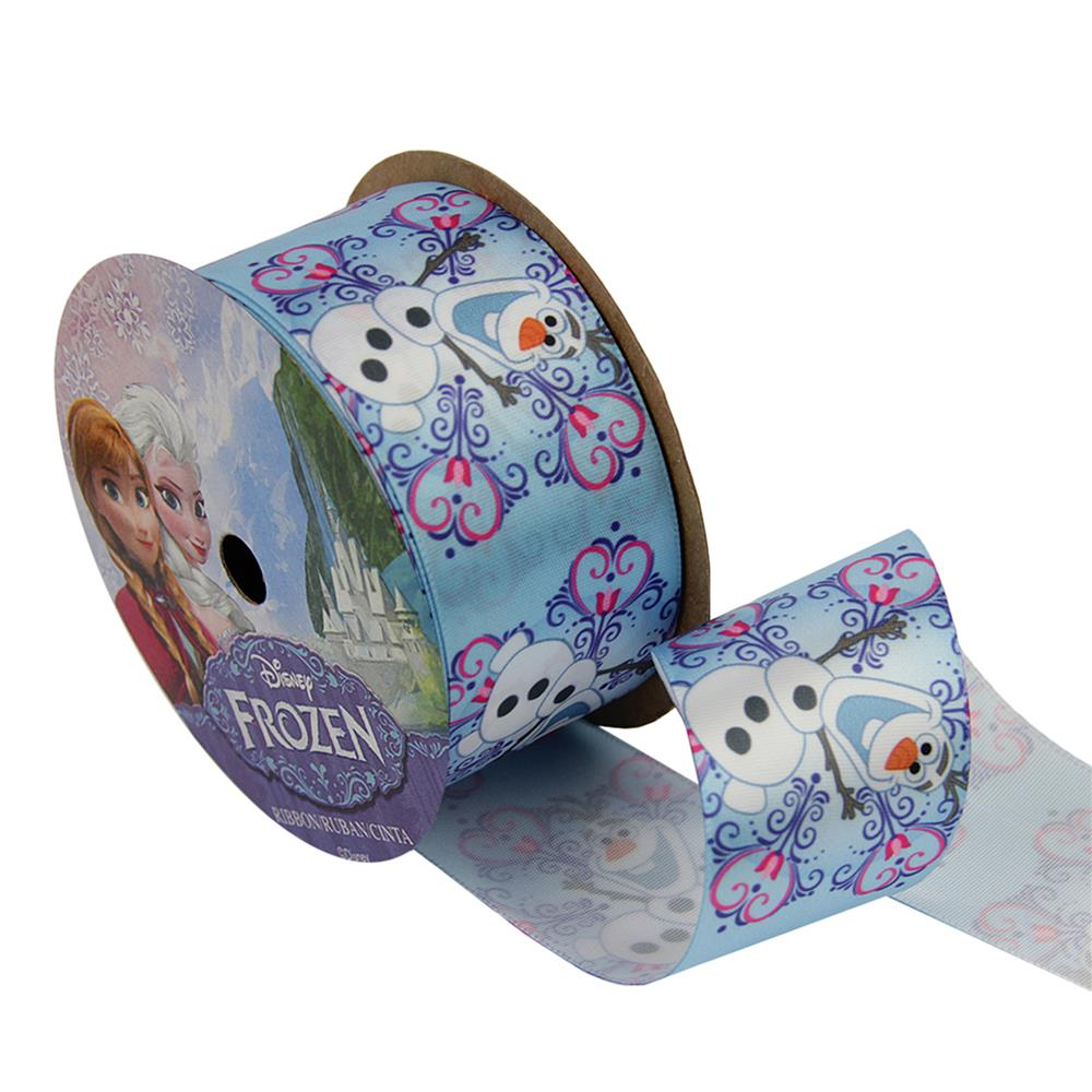 1 1/2'' Frozen Ribbon Olaf Snowflake White 3YD Spool