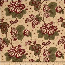 Molly B's Studio Large Floral Tan/Burgundy