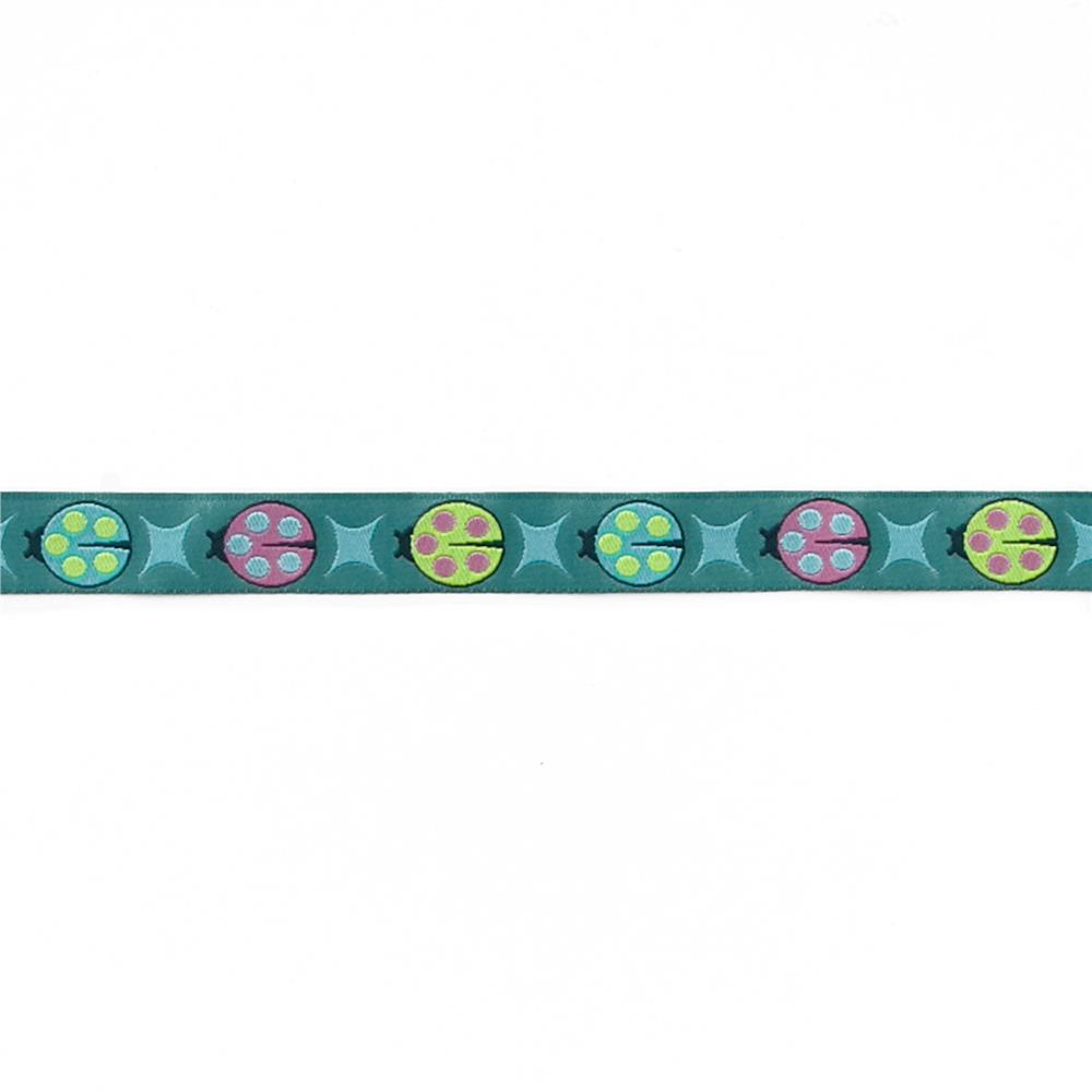"5/8"" Tula Pink Blue Ladybugs Ribbon"