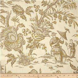 Waverly Williamsburg Asian Arcadia Toile Linen Sepia Fabric