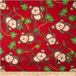 Printed Fleece Monkey Red