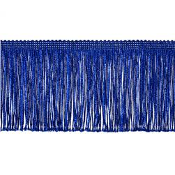 4'' Metallic Chainette Fringe Trim Royal Blue