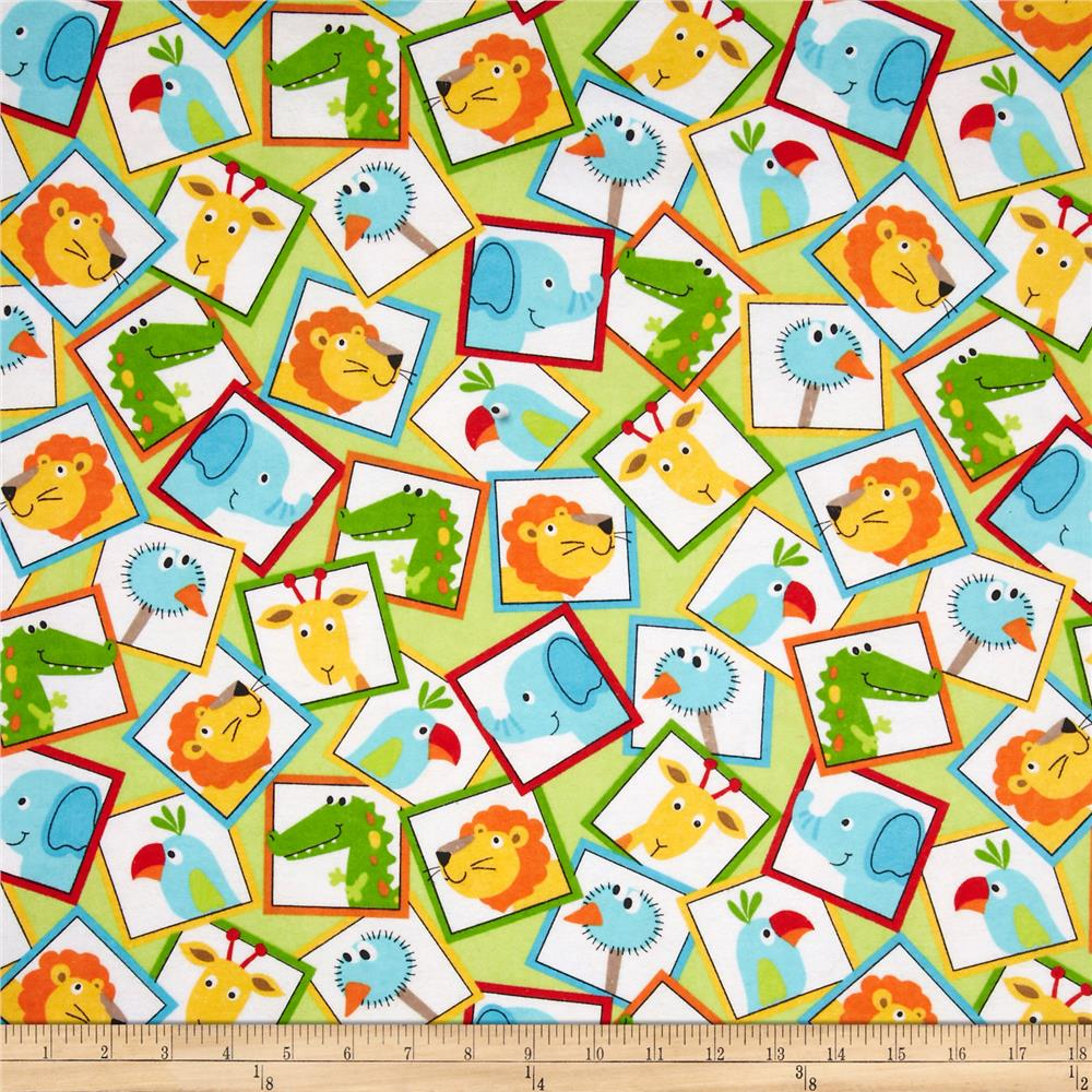 Flannel Jungle Animal Blocks Green
