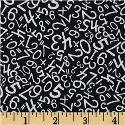 Back to School Scattered Numbers Black/White