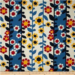 Auntie's Attic Floral Stripe Canvas Blue Fabric