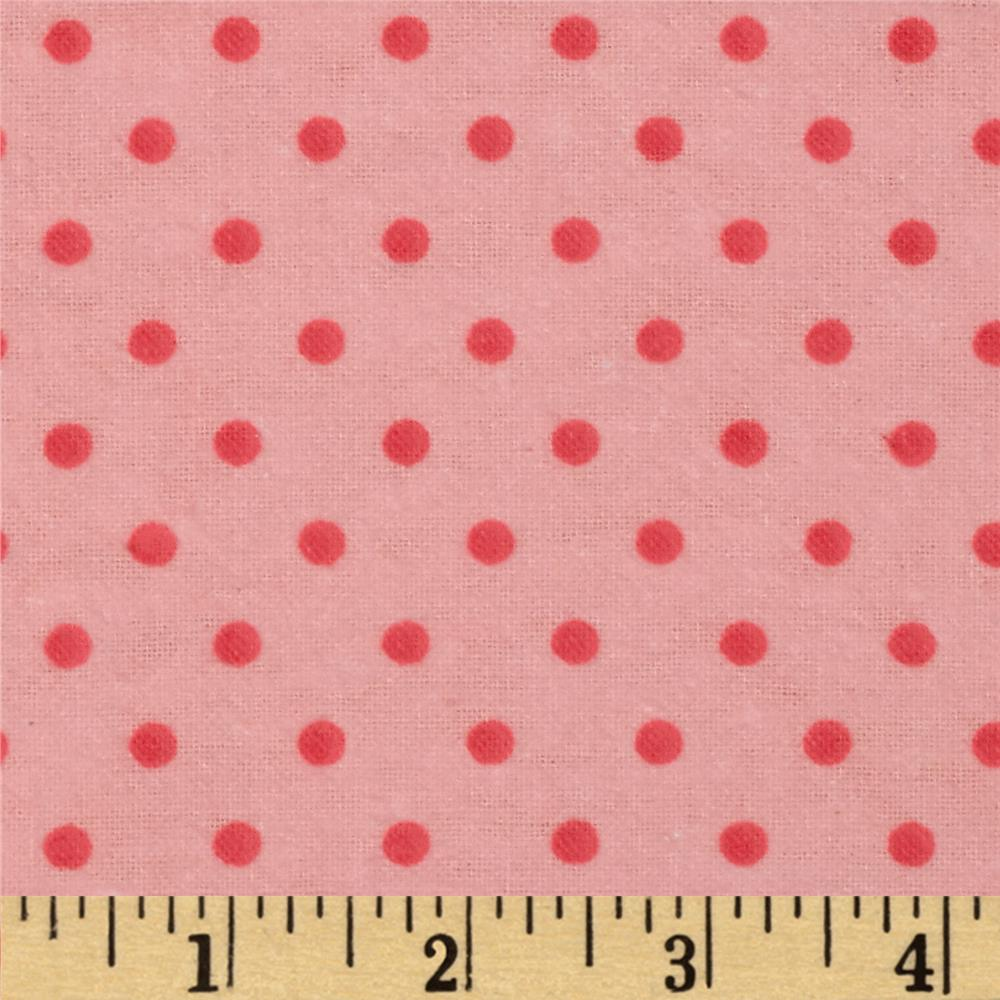 Aunt Polly's Flannel Small Polka Dots Light Pink/Pink
