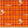Collegiate Cotton Broadcloth Clemson University Plaid Orange