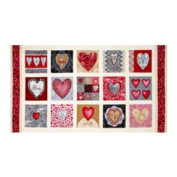 Key to My Heart Panel Red/Cream
