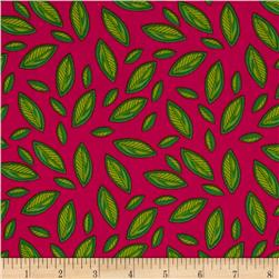 Tossed Green Leaves Hot Pink