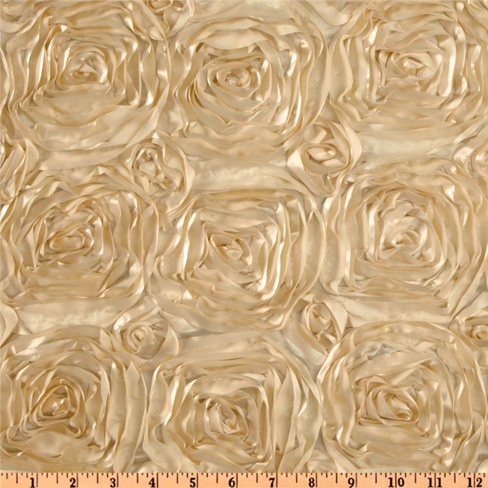Splenda Satin Ribbon Rosette Beige Fabric By The Yard