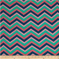 Stretch ITY Jersey Knit Small Chevron Teal/Pink