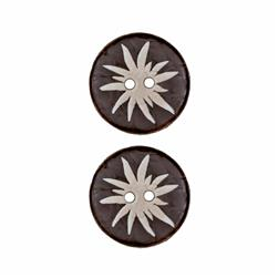 Dill Novelty Button 7/8'' Faux Wood Flourish Brown