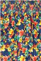 Elastic Smocked Cotton Tropical Floral Blue/Yellow/Orange