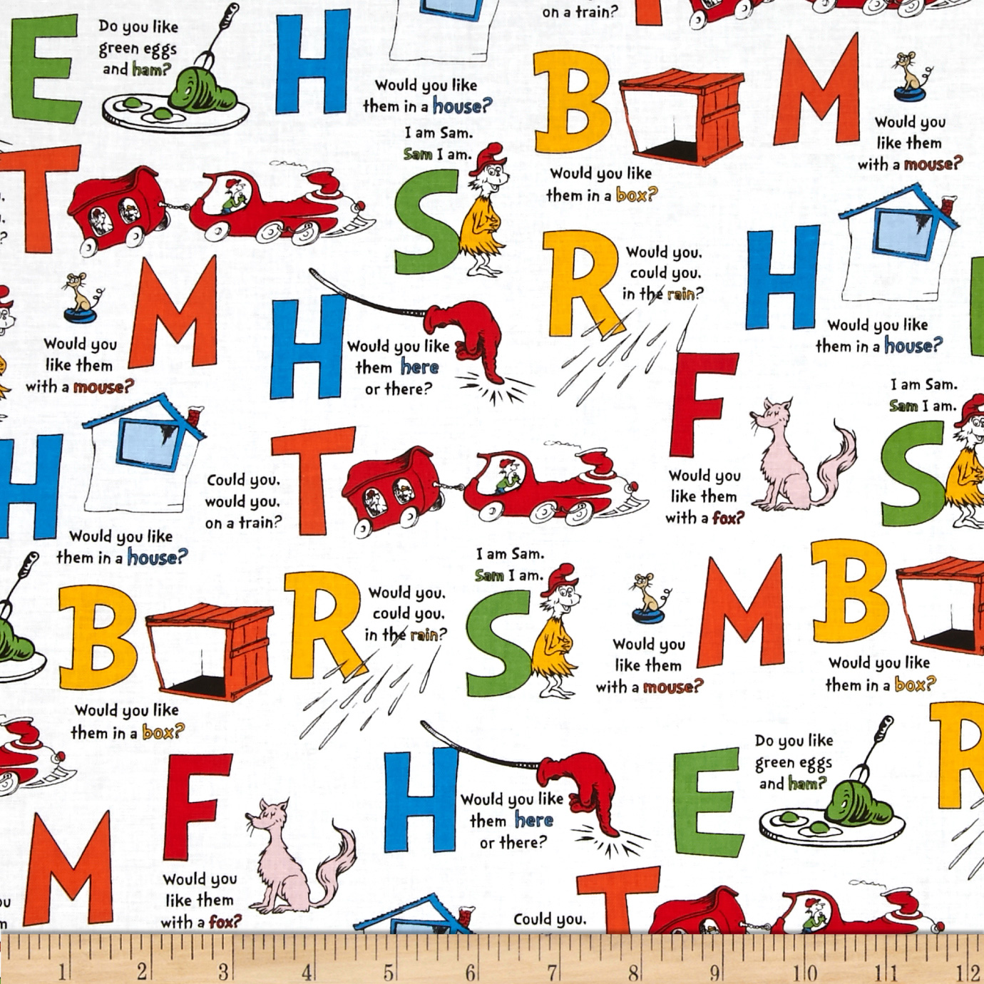 Green Eggs & Ham Alphabet Celebration White Fabric