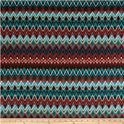 Silky Stretch ITY Jersey Knit Tribal Teal/Coral