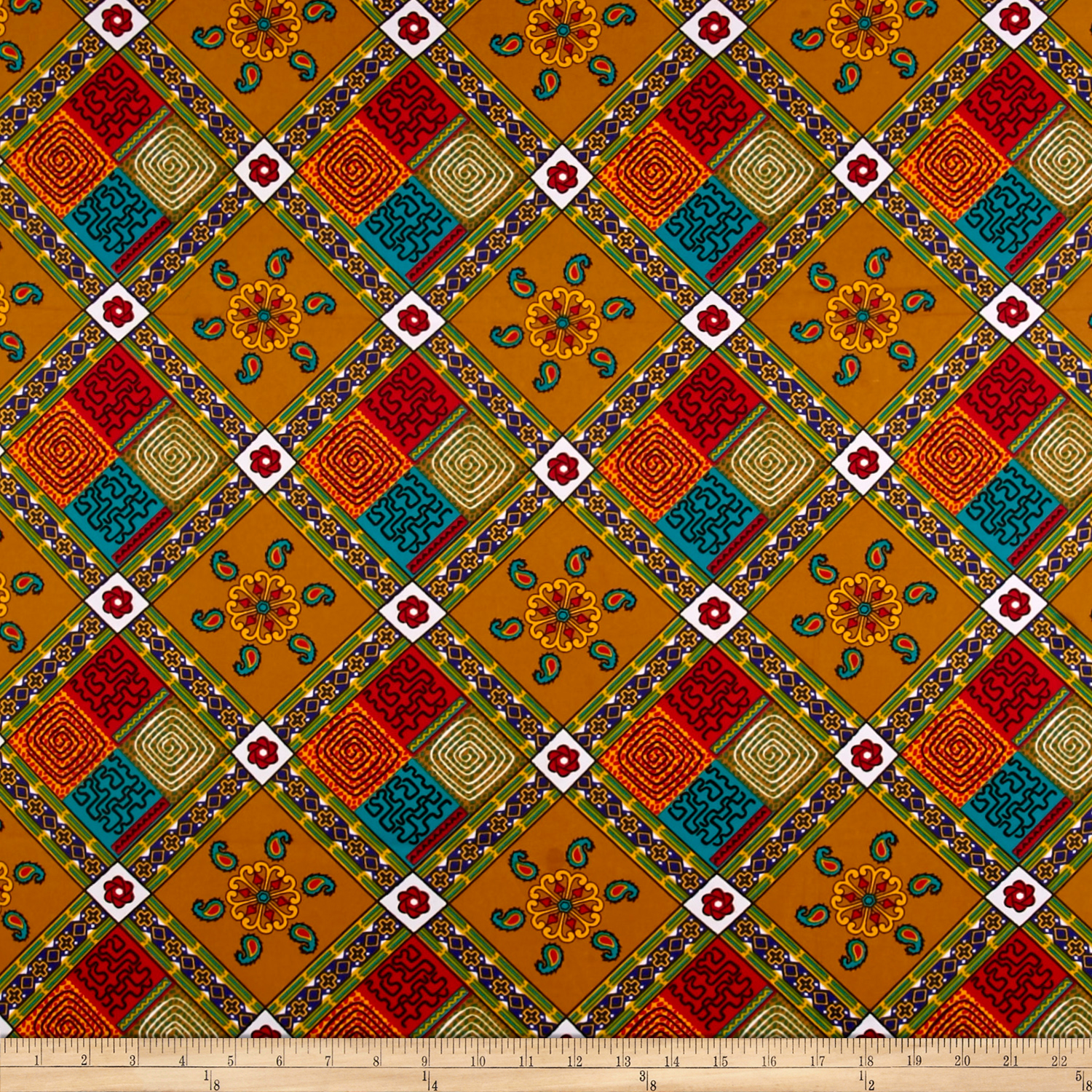 Supreme Fancy African Print 6 Yard Tan/multi Fabric