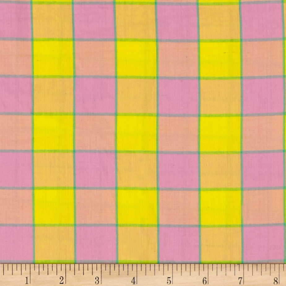 Artisan by Kaffe Fasset Yarn Dyed Wovens Checkerboard Plaid Ikat Pink Fabric by Westminster in USA