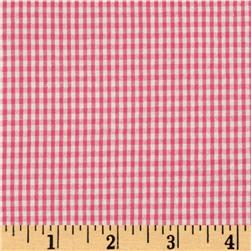 Kaufman Classic Seersucker Check Hot Pink/White Fabric