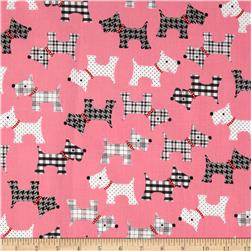Whiskers & Tails Scotty Dogs Pink Fabric