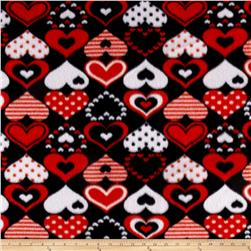 Fleece Print Hearts Red/Black