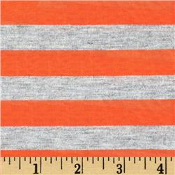 Yarn Dyed Jersey Knit Stripe Sheer Orange/Grey