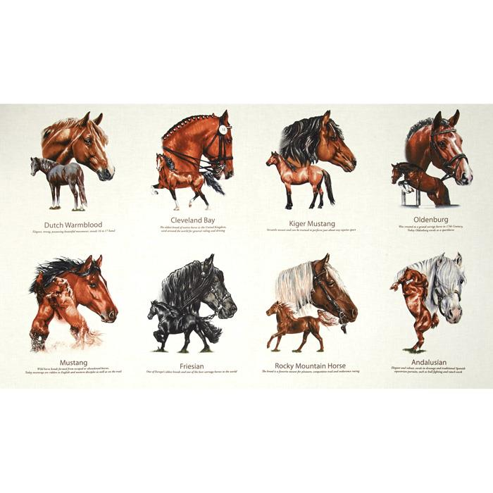 Horse Breeds 24 In Panel Cream Discount Designer Fabric Fabric