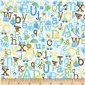 Riley Blake Snips & Snails Flannel Alphabet Blue