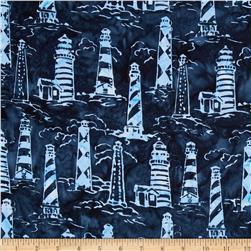 Timeless Treasures Tonga Batik Pacifica Lighthouses Navy