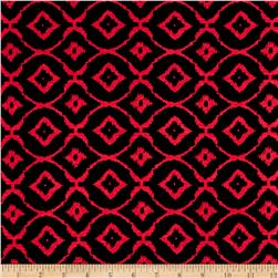 Rayon Spandex Jersey Knit Diamond Black/Red
