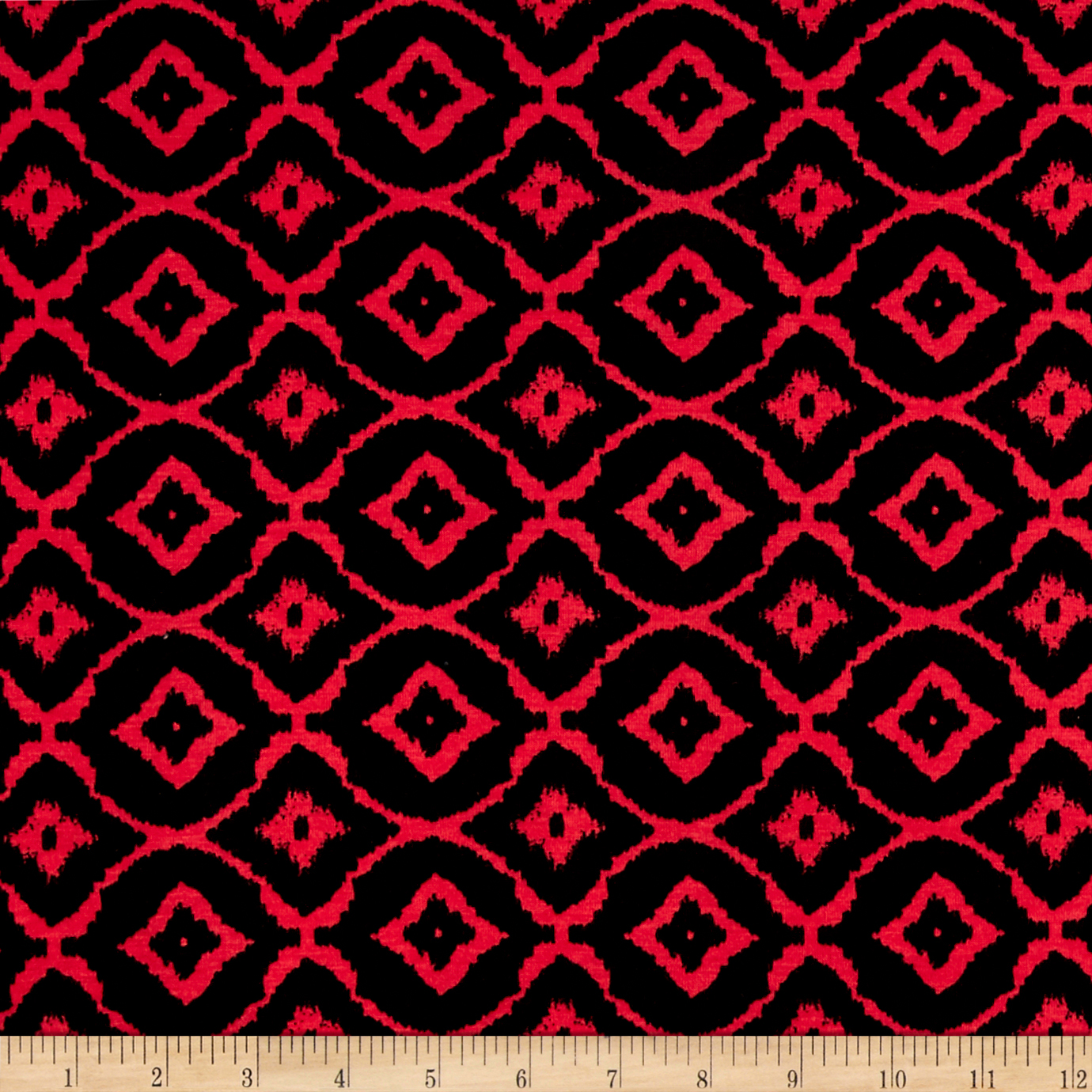 Rayon Spandex Jersey Knit Diamond Black/Red Fabric by Bellagio in USA