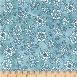Frolic in the Snow Flannel Snowflakes Dark Blue