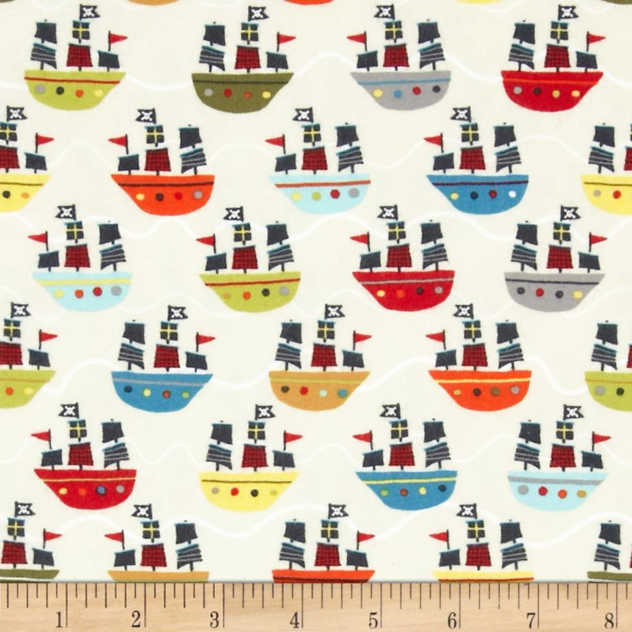 Riley Blake Treasure Map Flannel Treasure Boats Cream