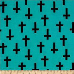 ITY Jersey Knit Crosses Black/Aqua