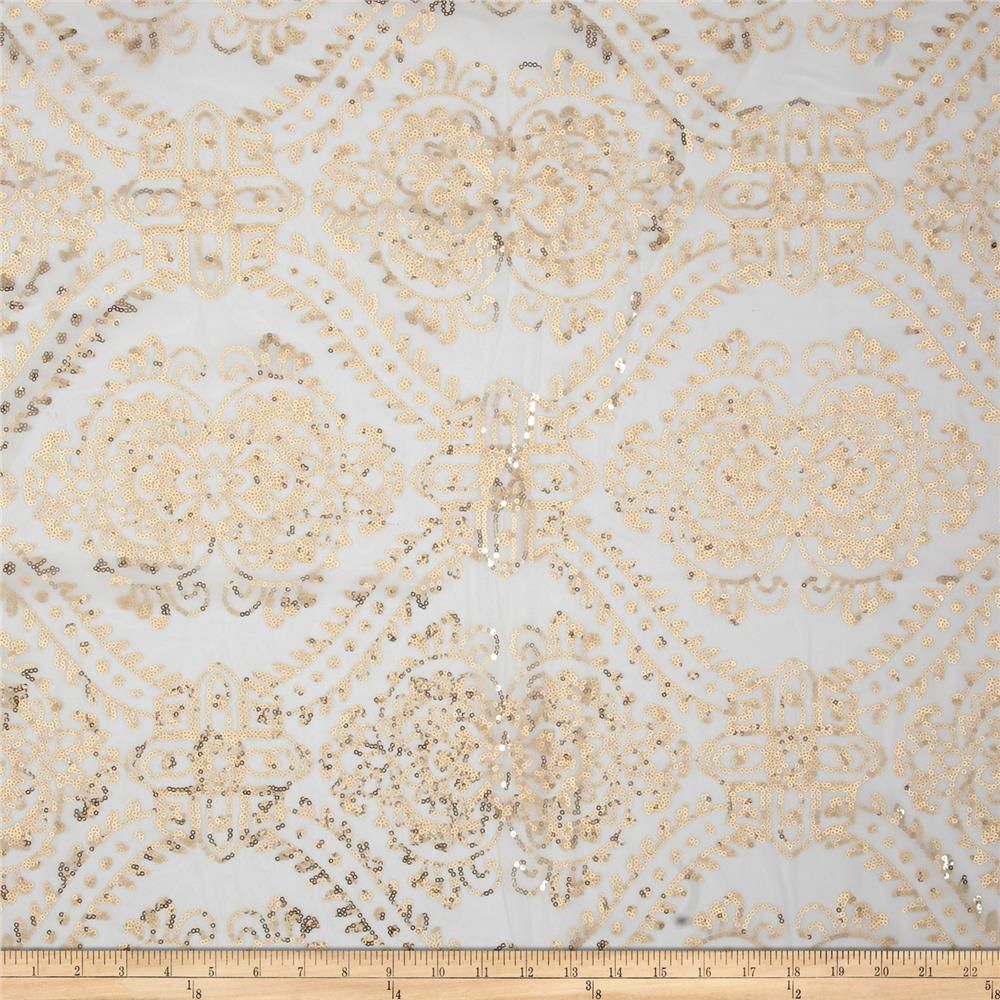 Starlight Sequined Mesh Damask Gold