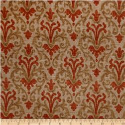 Jaclyn Smith Modern Damask Blend Terracotta Fabric