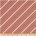 Robert Kaufman Remix Metallic Diagonal Stripe Holiday