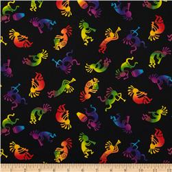 Timeless Treasures Southwest Tossed Kokopellis Black