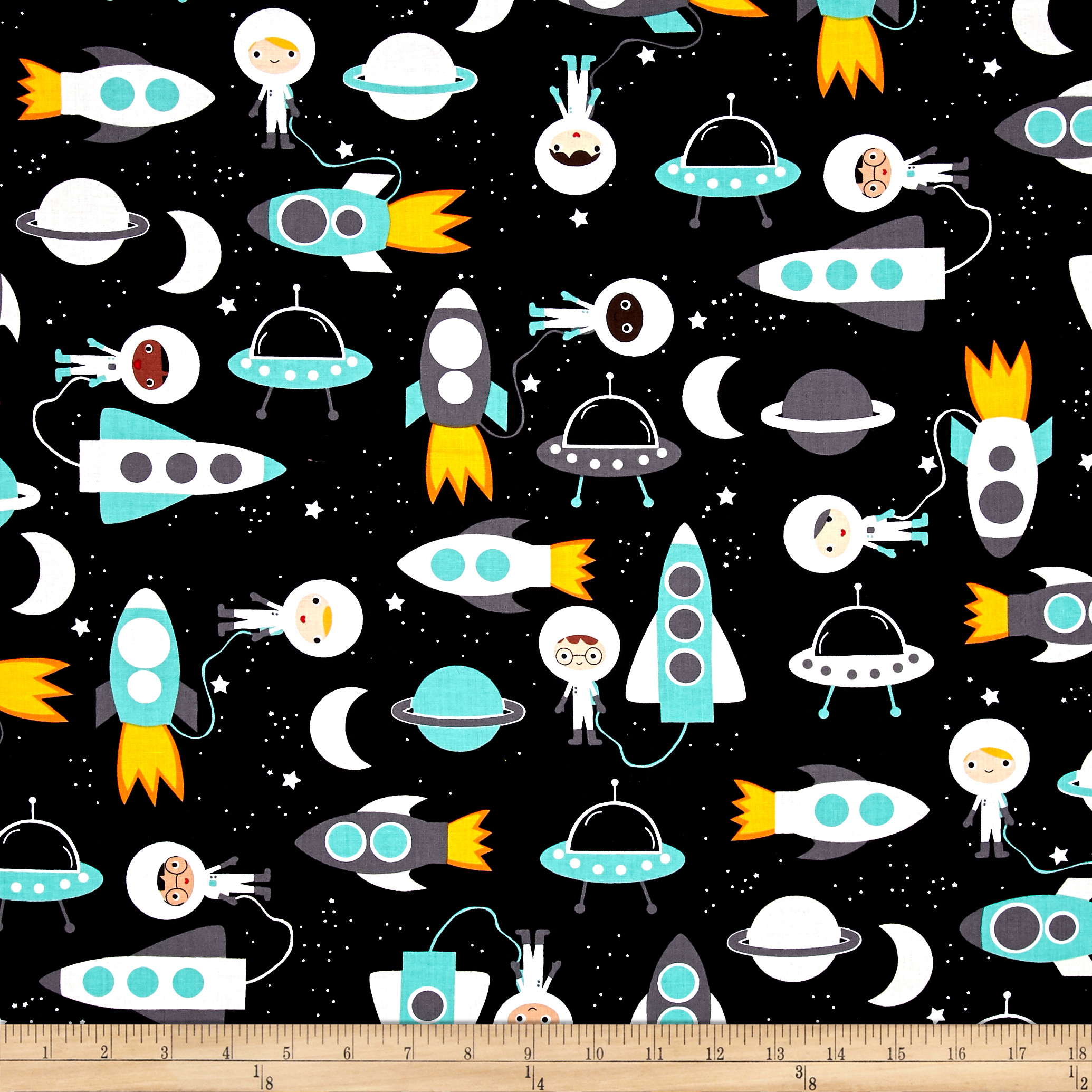 Image of Kaufman Space Explorers Space Collage Mint Fabric
