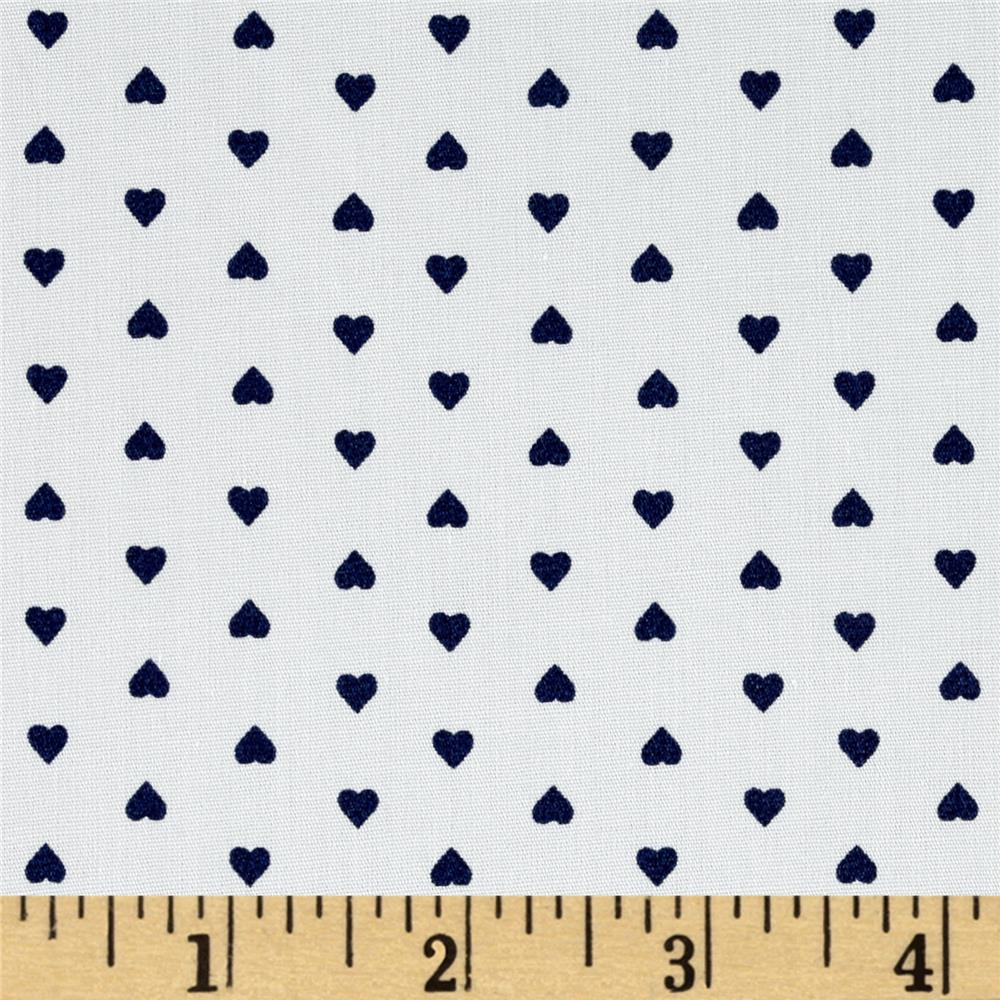 Telio Morocco Blues Stretch Cotton Shirting Heart Print