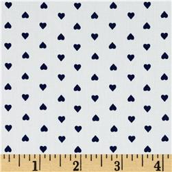 Morocco Blues Stretch Cotton Shirting Heart Print White/Navy