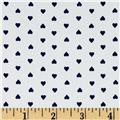 Telio Morocco Blues Stretch Cotton Shirting Heart Print White/Navy